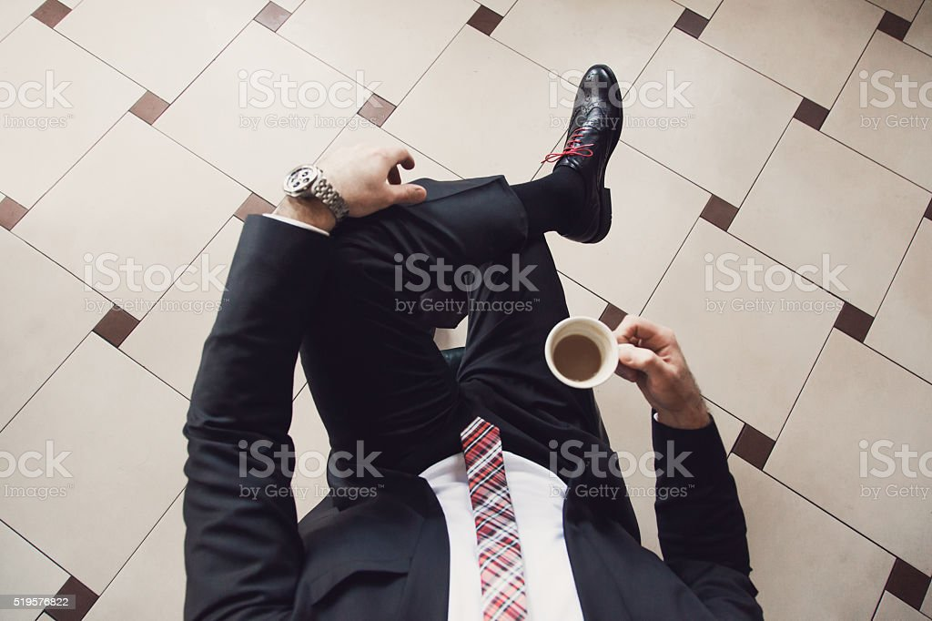 Starting His Business Day With A Cup Of Coffee stock photo