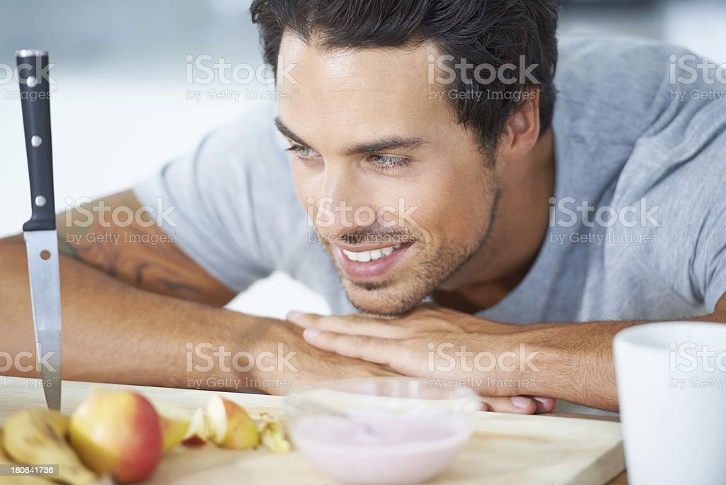 Starting his day with a great breakfast! royalty-free stock photo