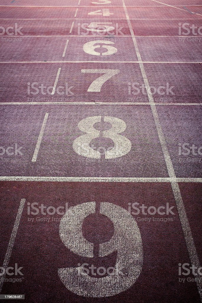 Starting Line of Track Running Lanes in Sports Arena. royalty-free stock photo