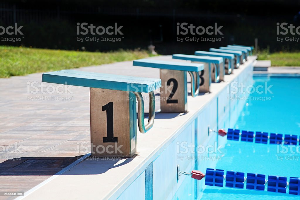 Starting places in swimming pool stock photo