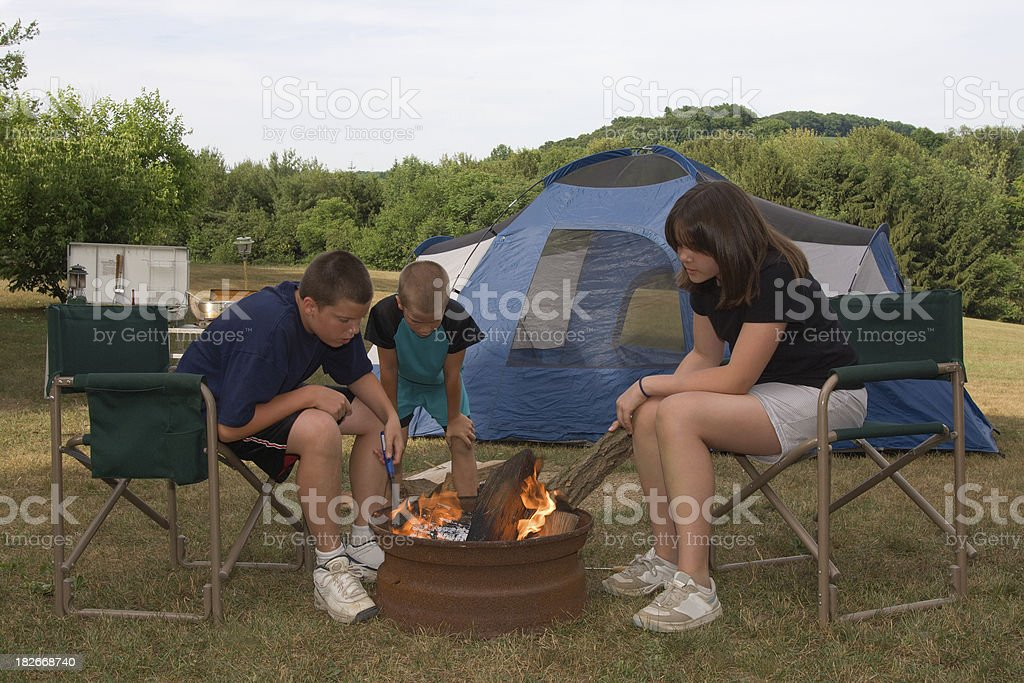 starting the campfire royalty-free stock photo