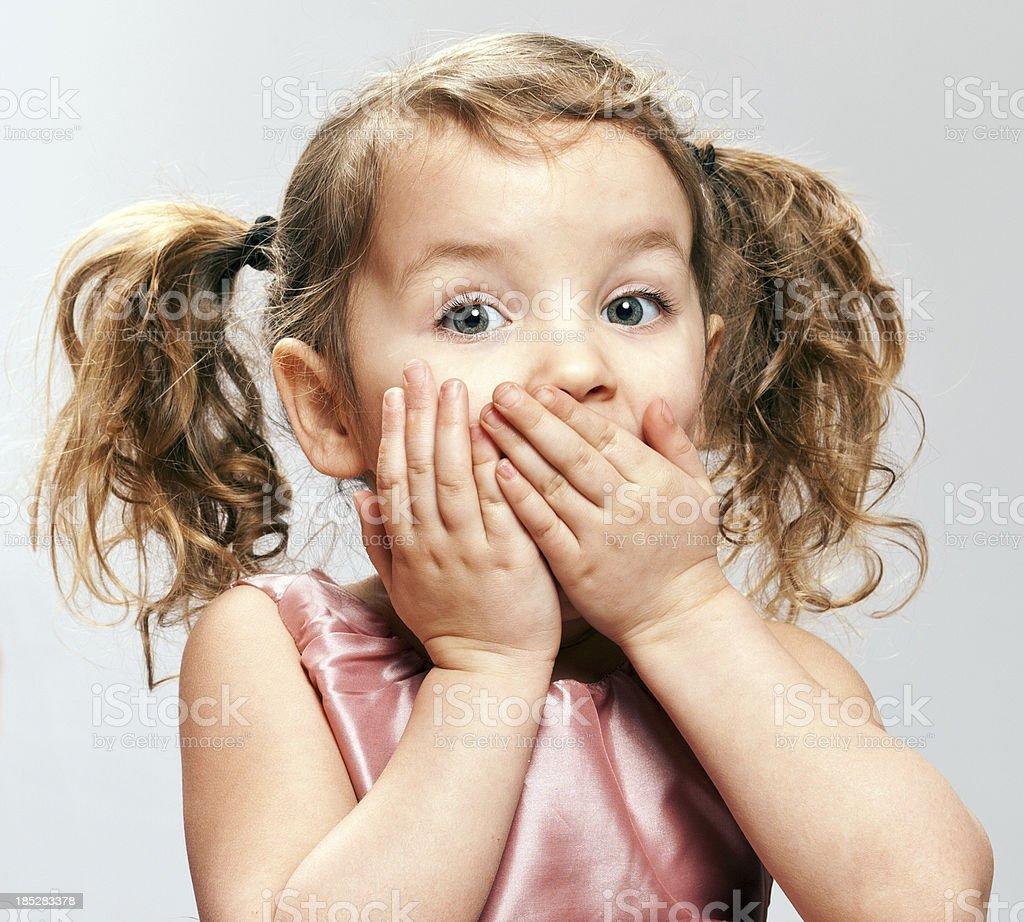 Startled Little Girl stock photo