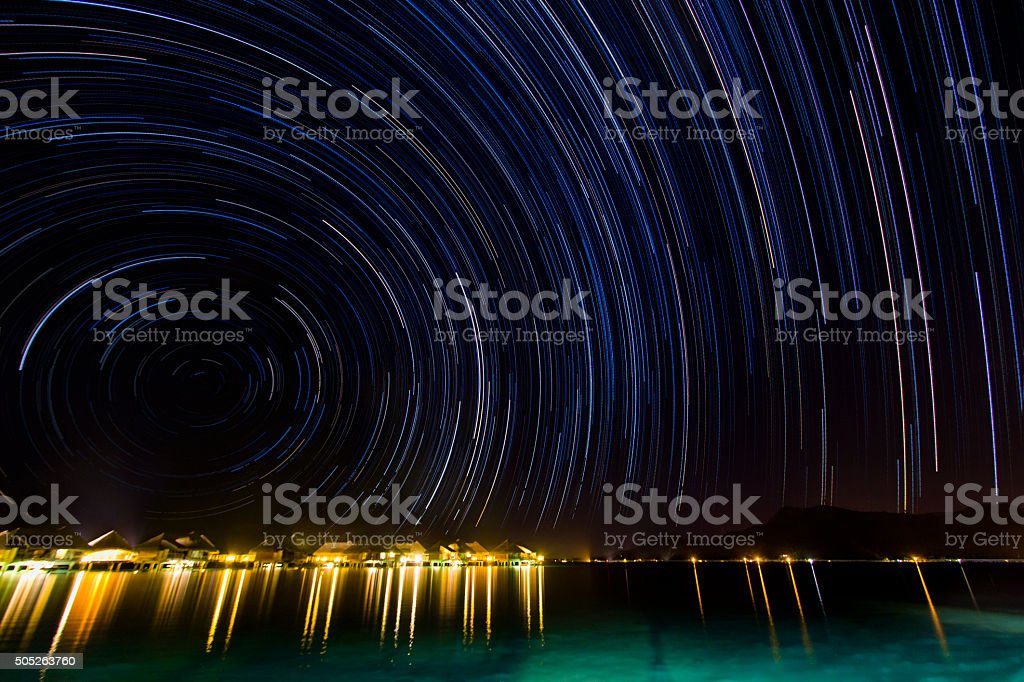 Startrail Over Bora Bora stock photo