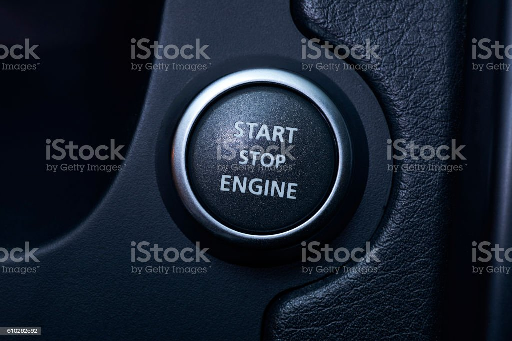 Start/stop engine button (focus on the button) stock photo