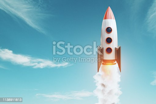 Launching rocket on blue sky background. Startup and project concept. 3D Rendering