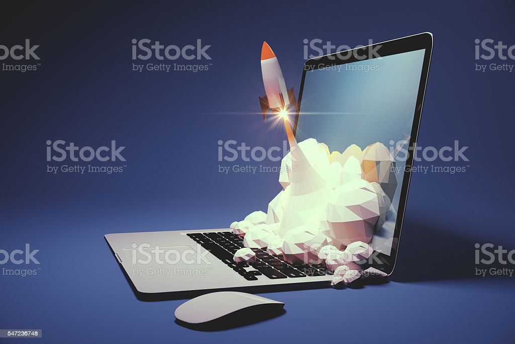 Startup blue side stock photo