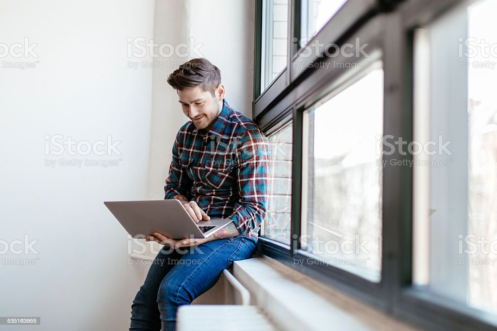 Start-up Businesman Working On Laptop stock photo