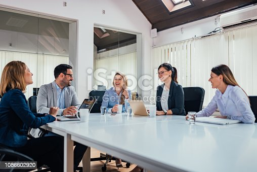 istock Startup business people group working in modern office. 1086602920