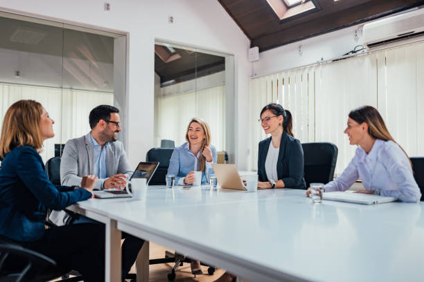 Startup business people group working in modern office. stock photo