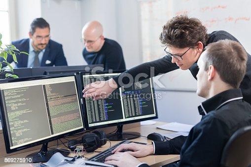 istock Startup business problem solving. Software developers working on desktop computer. 869275910