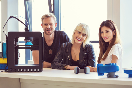 Startup Business Team In 3d Printer Office Stock Photo - Download Image Now