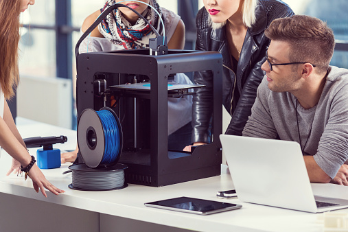 Startup Business Team Working By 3d Printer Stock Photo - Download Image Now