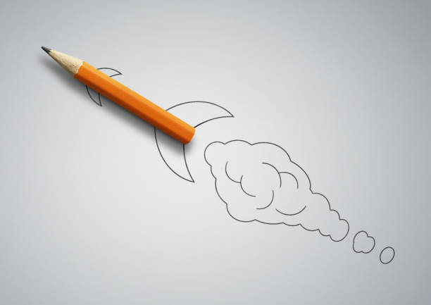startup concept, pencil as drawn rocket stock photo