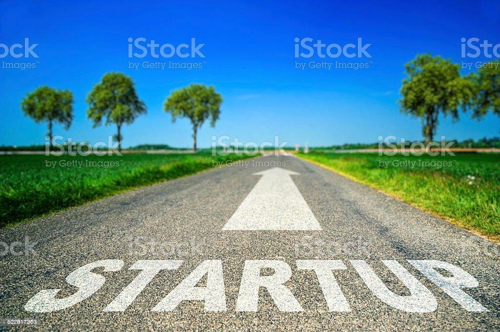 Startup word painted on asphalt road stock photo