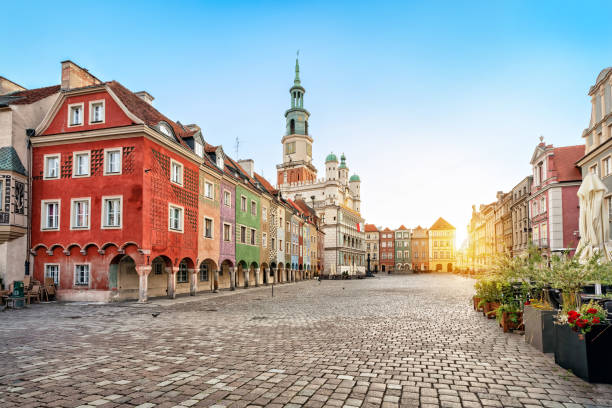 stary rynek square and old town hall in poznan, poland - poland stock photos and pictures