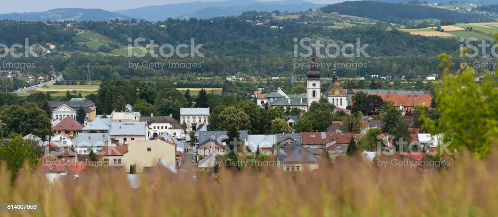 Stary Sacz, old town in southern Poland, Polish province stock photo