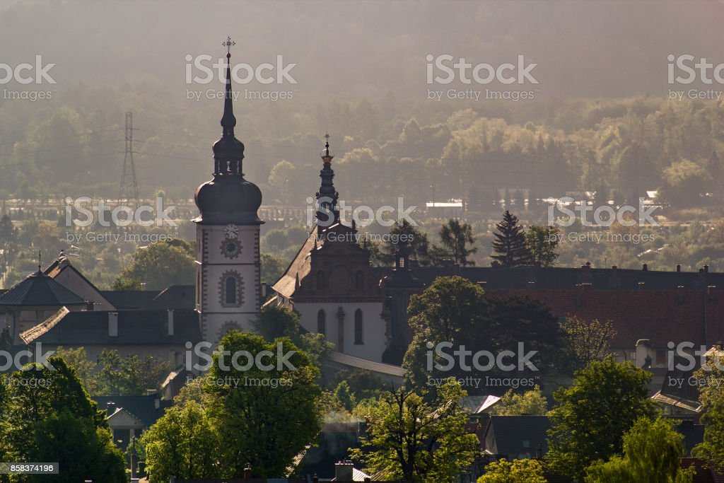 Stary Sacz town at sunrise. Monastery of the Poor Clares in the Stary Sacz, Poland. stock photo