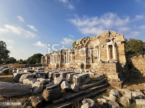 The State Agora ruins which date back to between the 5th and 10th century Ad, Side, Turkey.