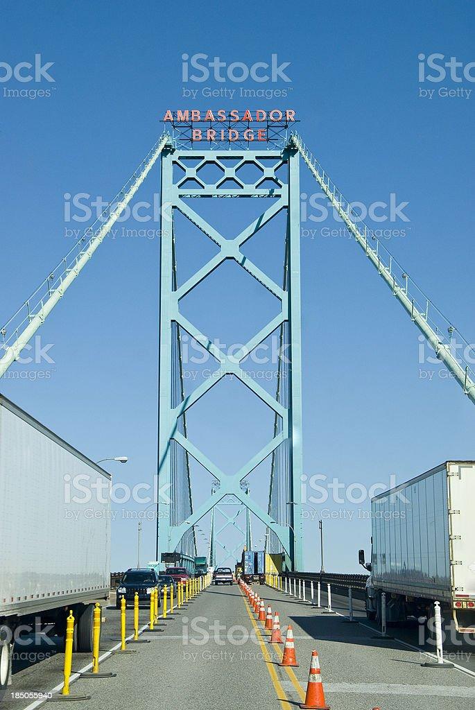 State Border to the USA - Ambassador Bridge Detroit stock photo