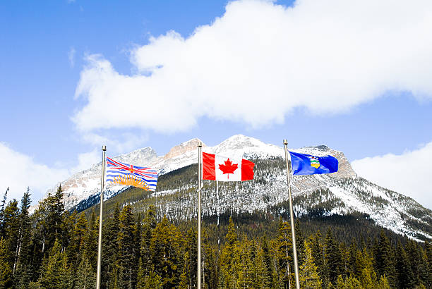 State Boundary of Albarta and British Columbiaon, Canadian Rockies stock photo