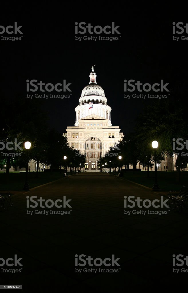 State Capitol Building at Night in Downtown Austin, Texas royalty-free stock photo