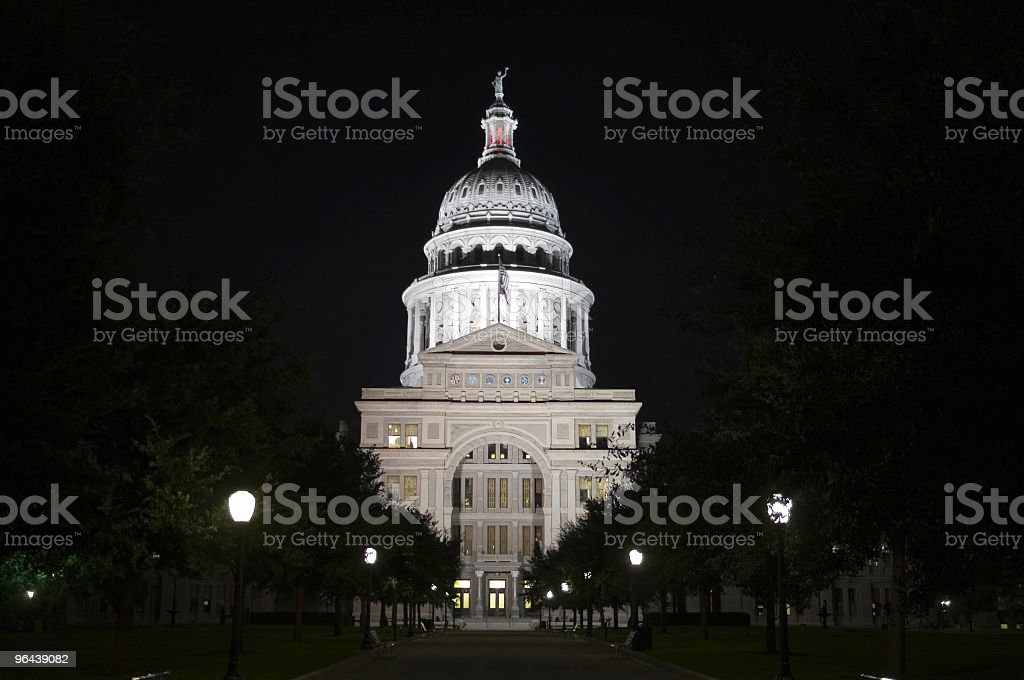 State Capitol Building at Night in Downtown Austin, Texas stock photo