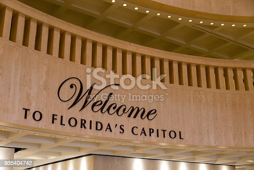 A welcome sign in the rotunda of the beautiful state capitol building of the state of Florida, located in Tallahassee.
