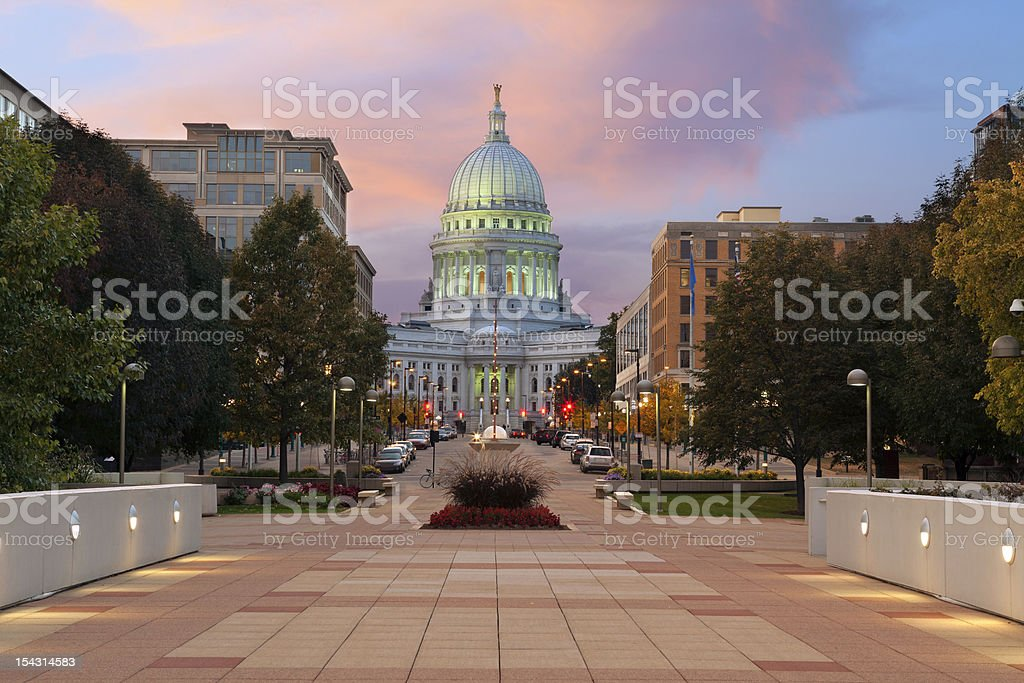 State capitol building, Madison. Image of state capitol building in Madison, Wisconsin, USA. Architectural Column Stock Photo