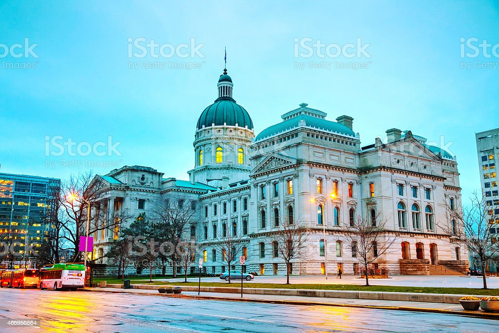 State Capitol building on a blue sky day in Indiana stock photo
