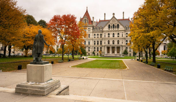 State Capitol Building Statehouse Albany New York Lawn Landscaping Full Size sculpture on the lawn in front of the New York statehouse in Albany albany county new york state stock pictures, royalty-free photos & images