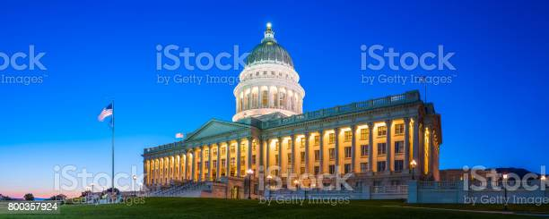 State capitol illuminated at dusk salt lake city utah panorama picture id800357924?b=1&k=6&m=800357924&s=612x612&h=zdllatnejmqi8ubpwmkzdltklaro2bafgn7la1jhc1m=