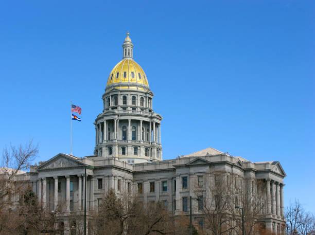 デンバー、コロラド州、米国の州議会議事堂 - 柱頭 ストックフォトと画像