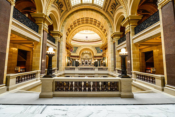 State Capitol Madison, Wisconsin Interior photograph of the architecture of the State Capitol, in Madison, Wisconsin. wisconsin state capitol stock pictures, royalty-free photos & images