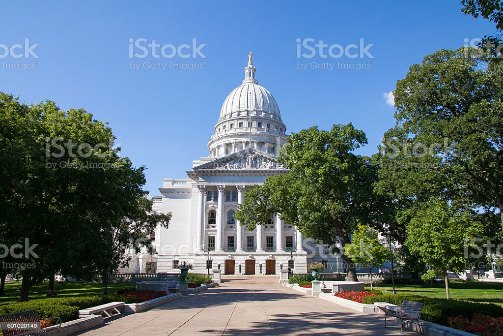 State Capitol of Wisconsin, Madison, USA stock photo