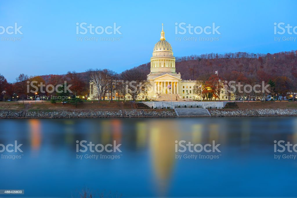 State Capitol Reflecting in the Kanawha River Charleston West Virginia stock photo