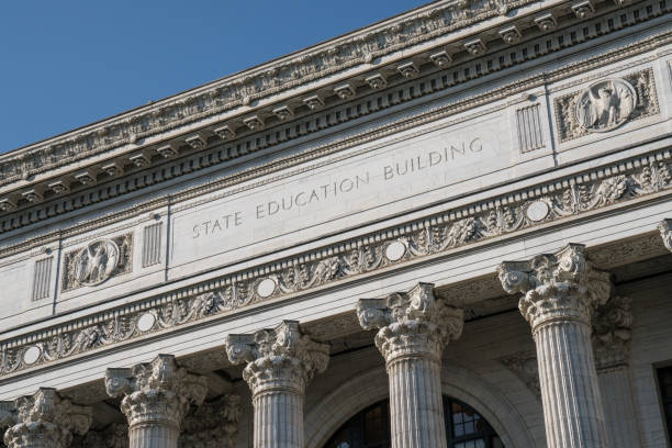 State Education Building Facade of New York State Education Building in Albany, New York albany new york state stock pictures, royalty-free photos & images