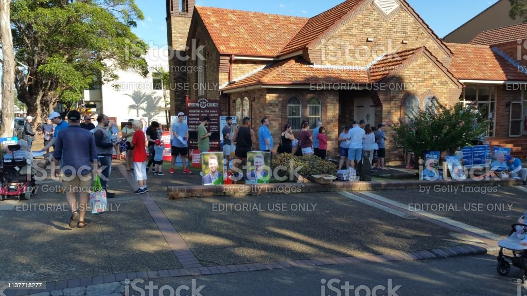 2019 NSW State election Sutherland Shire voting Center stock photo