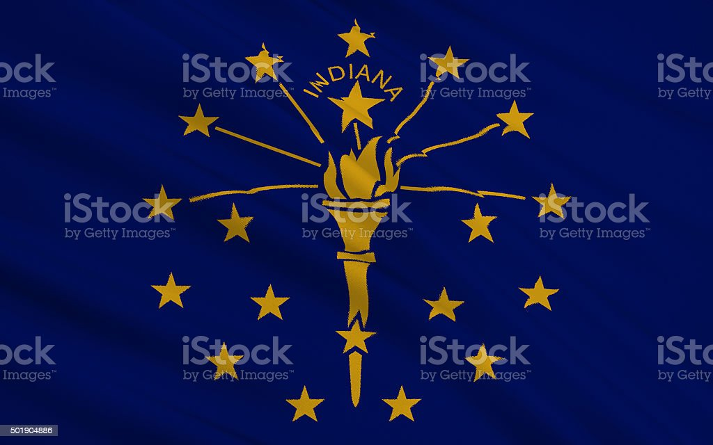 State Flag of Indiana stock photo