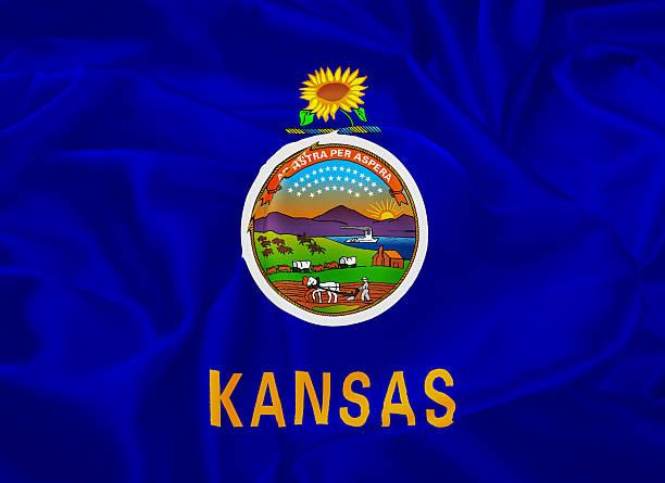 State Flag of Kansas stock photo