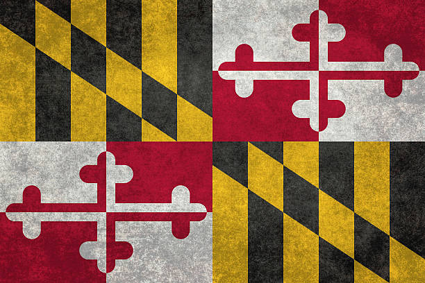 State flag of Maryland with vintage distressed textures Maryland State flag with distressed grungy textures maryland us state stock pictures, royalty-free photos & images
