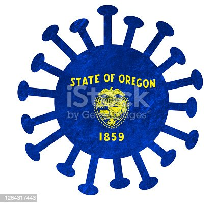 State flag of Oregon with corona virus or bacteria - Isolated on white