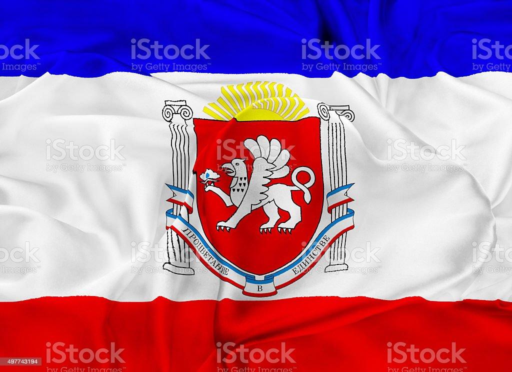State Flag of Republic of Crimea - Russia stock photo