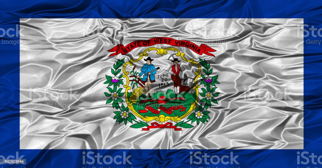 US state flag of West Virginia stock photo