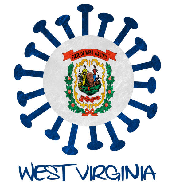 State flag of West Virginia with corona virus or bacteria - Isolated on white State flag of West Virginia with corona virus or bacteria - Isolated on white west virginia us state stock pictures, royalty-free photos & images