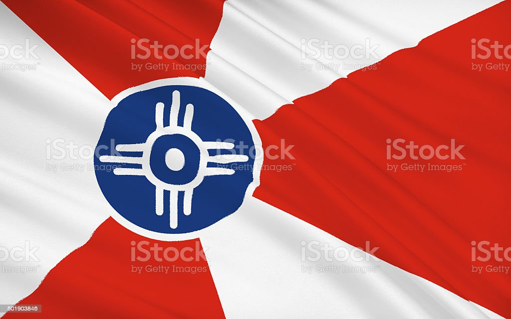 State Flag of Wichita - a city in the USA stock photo