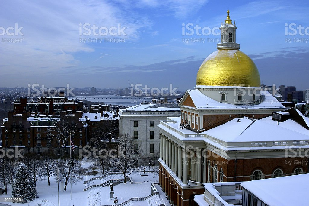 state house snow stock photo