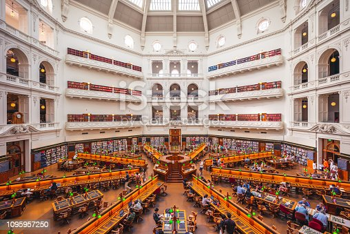 The La Trobe Reading Room of state library of victoria, designed to hold over a million books and up to 600 readers