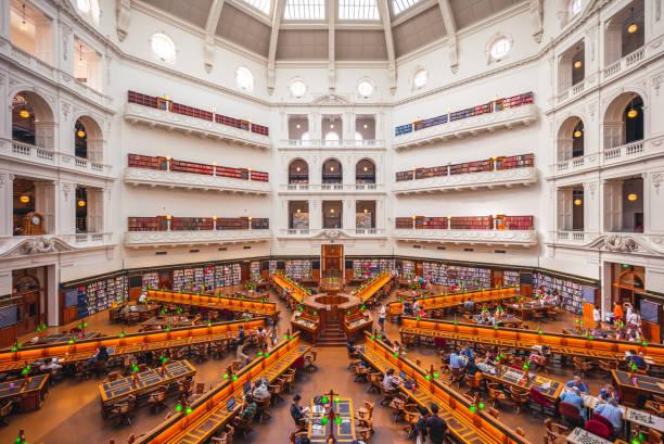 state library of victoria in melbourne - victoria australia foto e immagini stock