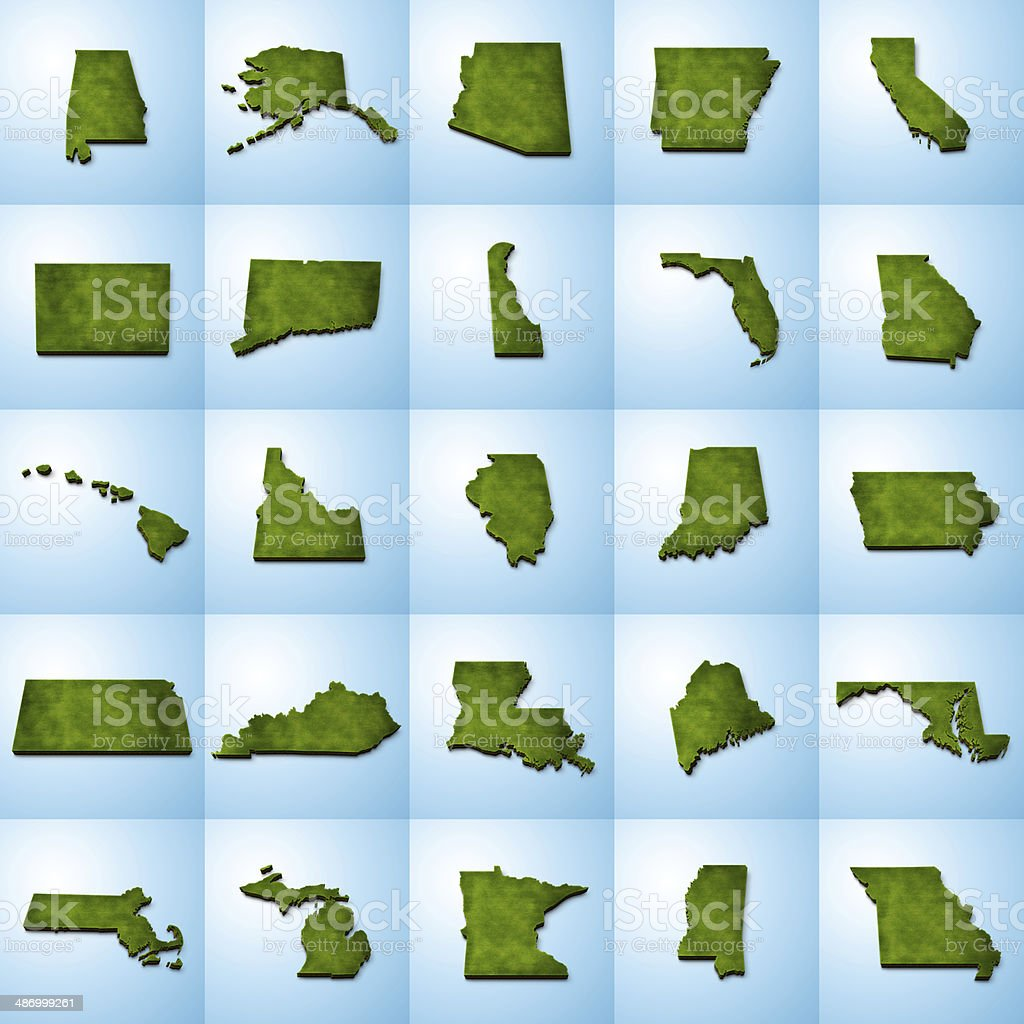 US State Maps Set I stock photo