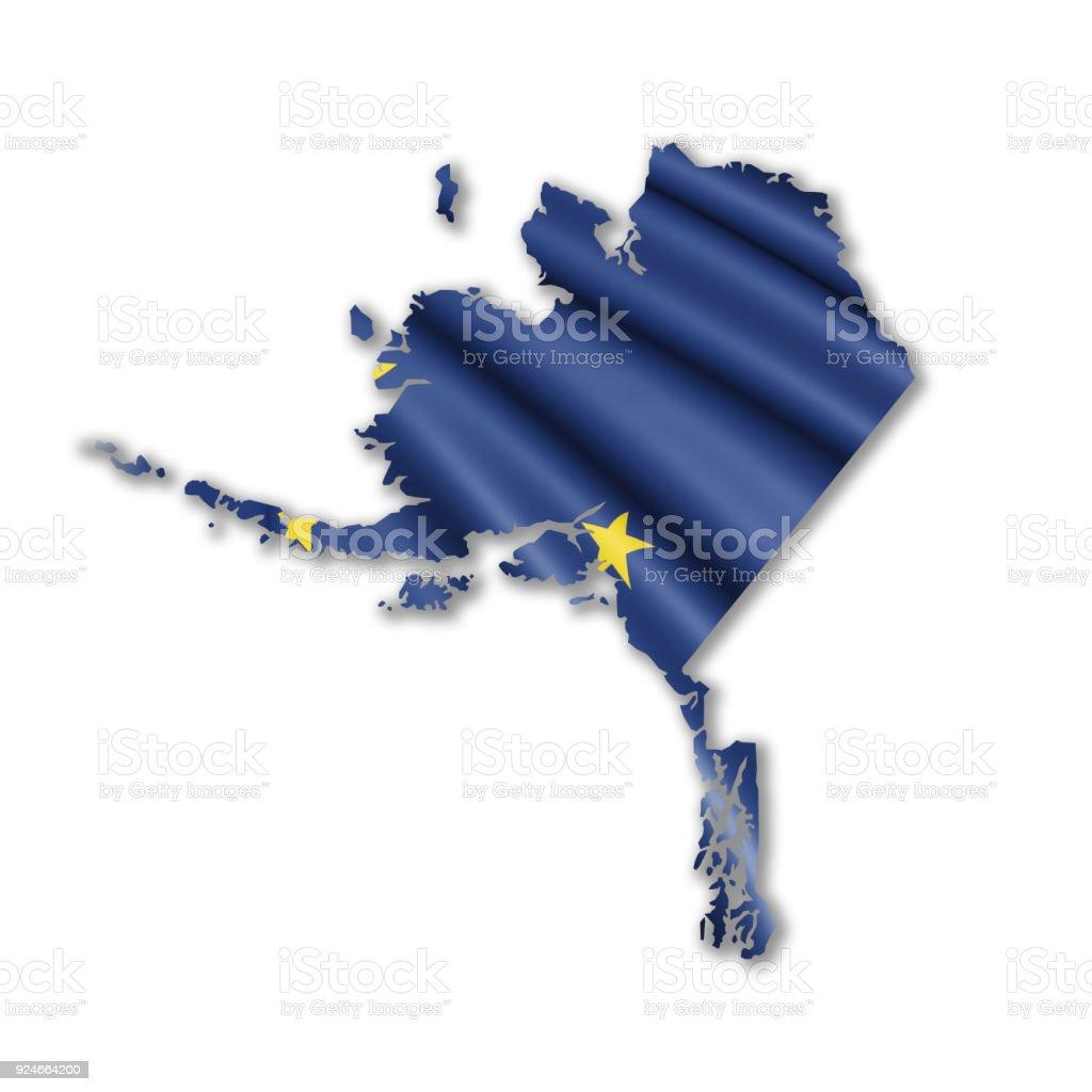 Bandeira de contorno dos EUA estado do Alasca - foto de acervo